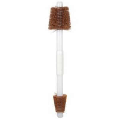 Carlisle 4067925 19-in Double End Valve Brush, Baton Handle & Stiff Tan Bristles