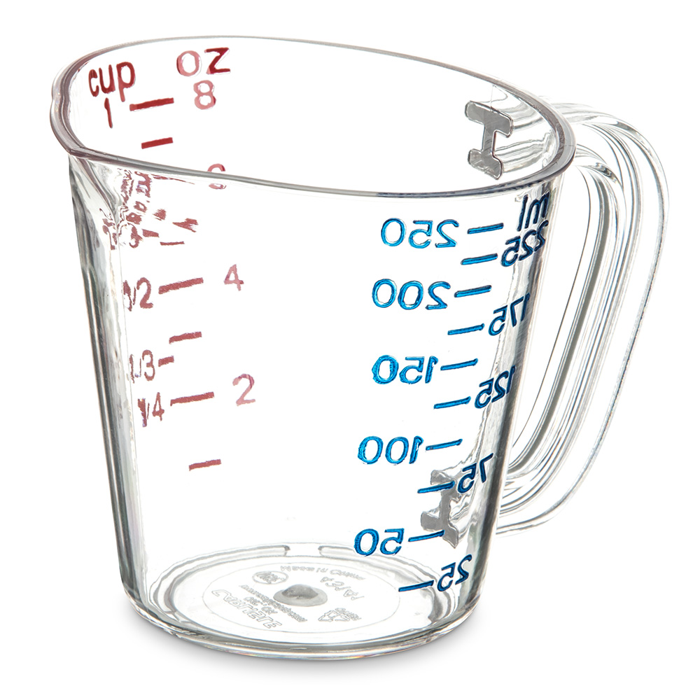 Carlisle 4314107 8-oz (1-cup) Oval Measuring Cup - Clear