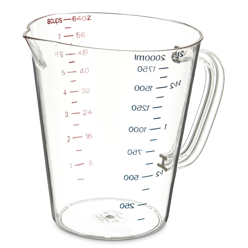 Carlisle 4314407 64-oz (1/2-gal) Oval Measuring Cup - Clear