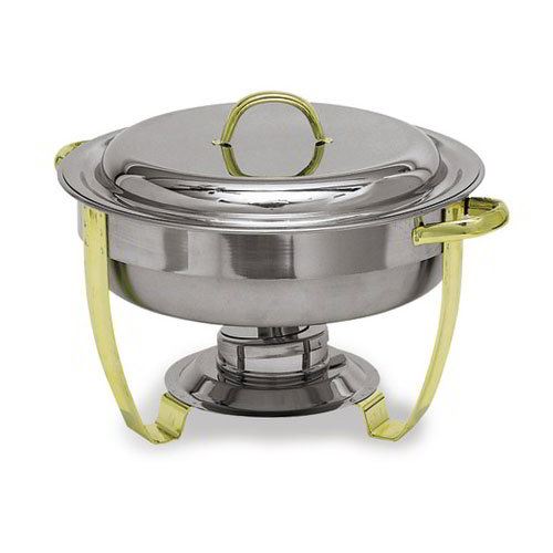 Carlisle Food Service 609530 New World Collection Nina Chafer Round 4 qt Gold Trim Lift-Off Cover SS Restaurant Supply