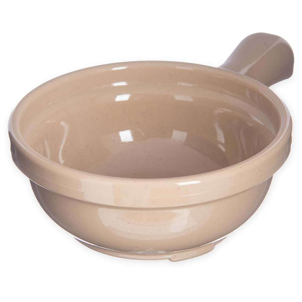 Carlisle 700619 Handled Soup Bowl, 8 oz., 4-5/8 in Diameter, Stone, SAN