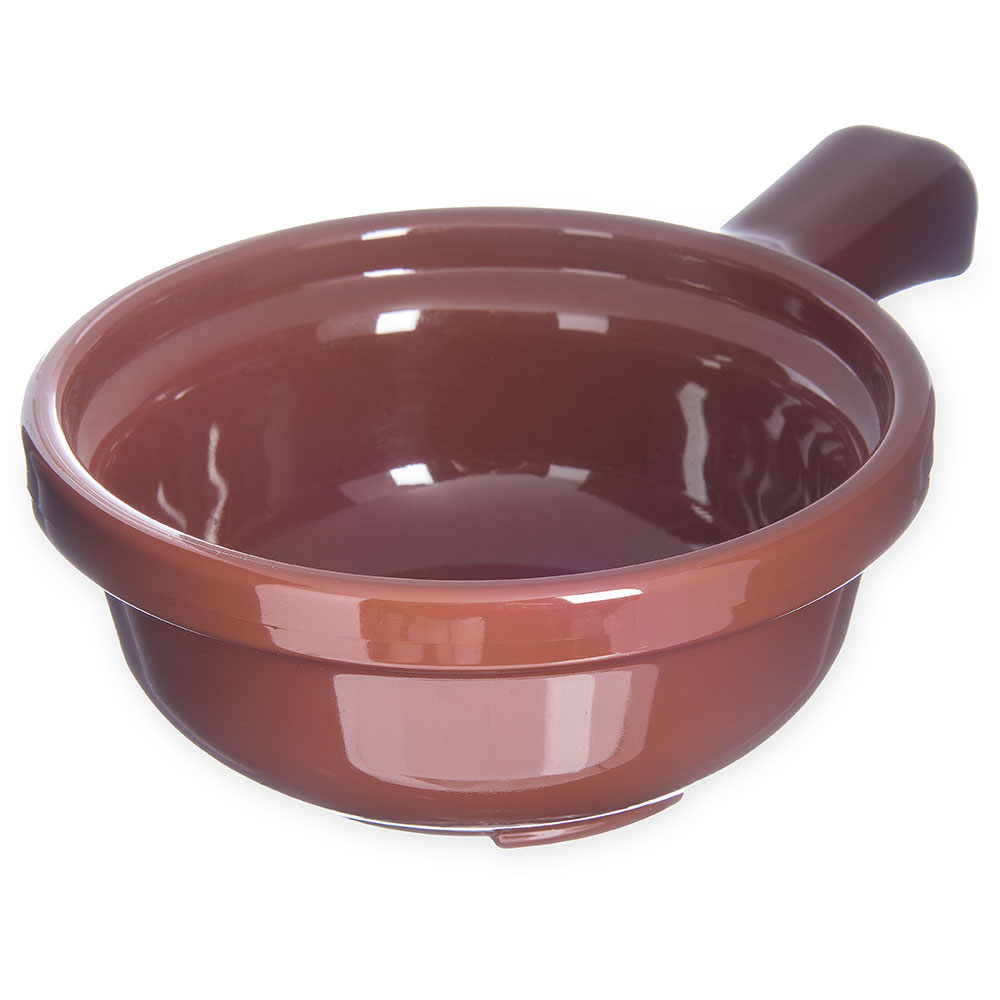 Carlisle 700828 Handled Soup Bowl, 12 oz., 5-1/4 in Diameter, Brown, SAN