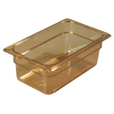 "Carlisle 10461-813 High Heat 1/3 Size Food Pan - 4""D, (3/Pk) Amber"