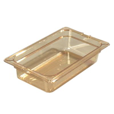 "Carlisle 10480-813 High Heat 1/4 Size Food Pan - 2-1/2""D, (3/Pk) Amber"