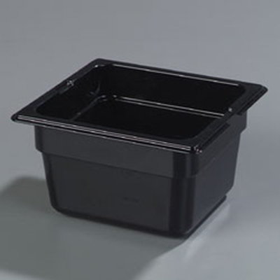 "Carlisle 1050103 High Heat 1/6 Size Food Pan - 4""D, Black"