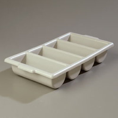 "Carlisle 107123 Silverware Tray - 4-Compartment, 21-1/4x11-1/2x3-3/4"" Gray"