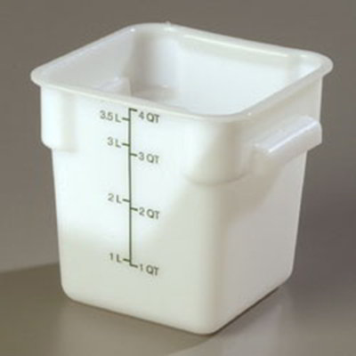 Carlisle 1073102 4-qt Square Food Storage Container - Stackable,