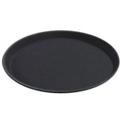"Carlisle 1100GR004 11"" Round Serving Tray - Black"