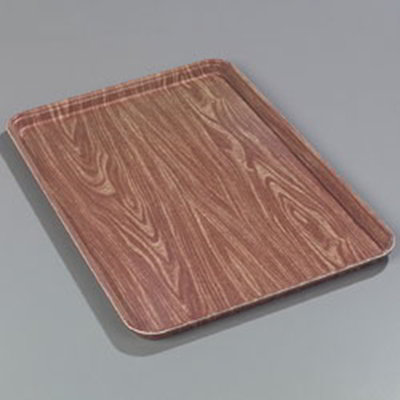 "Carlisle 2618WFG063 Rectangular Display/Bakery Tray - 25-5/8x17-7/8x1-1/4"" Pecan Woodgrain"
