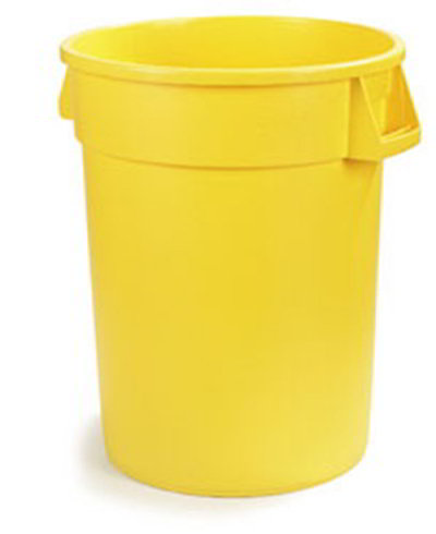 Carlisle 34104404 44-gal Round Waste Container - Handles, Polyethylene, Yellow