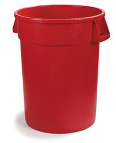 Carlisle 34104405 44-gal Round Waste Container - Handles, Polyethylene, Red