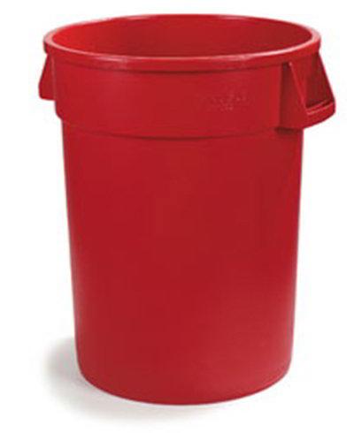 Carlisle 34104405 44-gal Round Waste Container - Handles, Polyethylene, Red