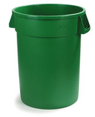 Carlisle 34104409 44-gal Round Waste Container - Handles, Polyethylene, Green