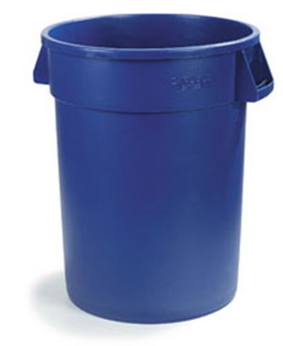 Carlisle 34104414 44-gal Round Waste Container - Handles, Polyethylene, Blue