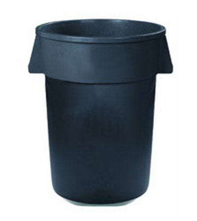 Carlisle 34104423 44-gal Round Waste Container - Handles, Polyethylene, Gray
