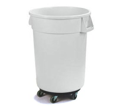 Carlisle 34113202 32-gal Round Waste Container with Dolly - Handles, Polyethylene, White