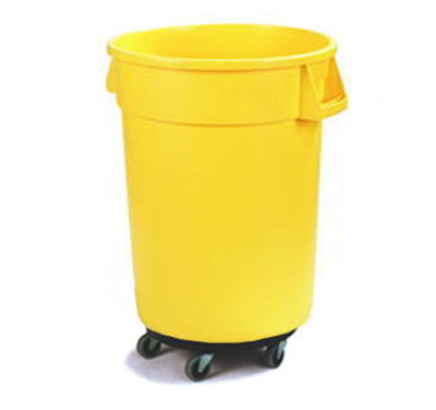 Carlisle 34114404 44-gal Round Waste Container with Dolly - Handles, Polyethylene, Yellow
