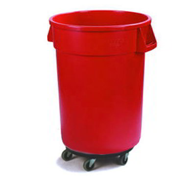 Carlisle 34113205 32-gal Round Waste Container with Dolly - Handles, Polyethylene, Red
