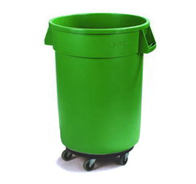 Carlisle 34113209 32-gal Round Waste Container with Dolly - Handles, Polyethylene, Green