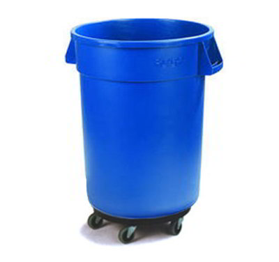 Carlisle 34113214 32-gal Round Waste Container with Dolly - Handles, Polyethylene, Blue
