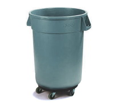 Carlisle 34113223 32-gal Round Waste Container with Dolly - Handles, Polyethylene, Gray