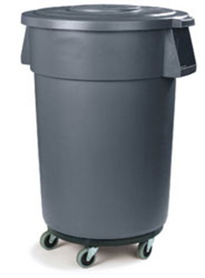 Carlisle 34114423 44-gal Round Waste Container with Dolly - Handles, Polyethylene, Gray