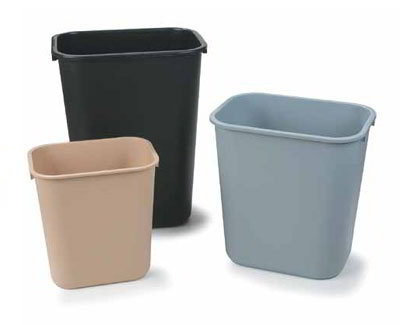 Carlisle 34291303 13-qt Office Wastebasket - Polypropylene, Black