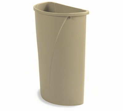 Carlisle 343021-06 21-gal Half-Round Waste Container - Handles, Polyethylene, Beige