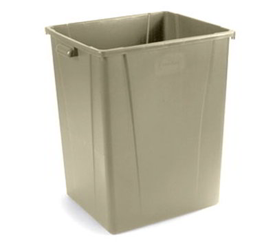 Carlisle 344056-06 56-gal Square Waste Container - Polyethylene, Beige