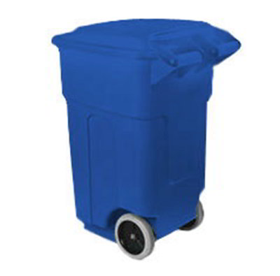 Carlisle 34505014 50-gal Square Roll-Away Waste Container - Polyethylene, Blue