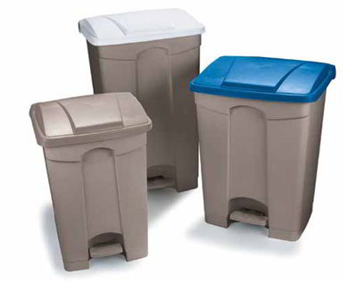Carlisle 34614614 23-gal Step-On Waste Container - Polypropylene, Beige/Blue
