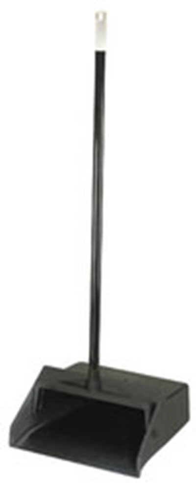 "Carlisle 36141003 12"" Lobby Dust Pan - Metal Handle, Black"