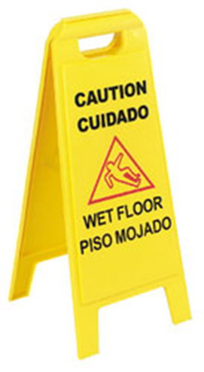 "Carlisle 3690000 Wet Floor Safety Sign - 11x25"" 2-Sided, Yellow"