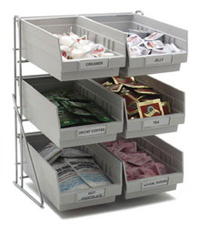 "Carlisle 381206LG 4-qt Condiment Packet Rack - 14x12x18"" Chrome/Gray"