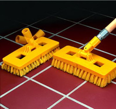 "Carlisle 4043000 9"" Swivel Scrub Floor Brush Head - Plastic Block, Yellow"