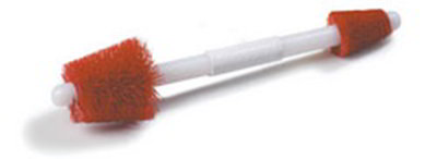 Carlisle 4067905 19-in Double End Valve Brush, Baton Handle & Stiff Red Bristles
