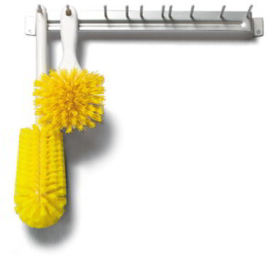 "Carlisle 4073504 17"" Brush Rack - Wall Mount, Aluminum, Yellow"