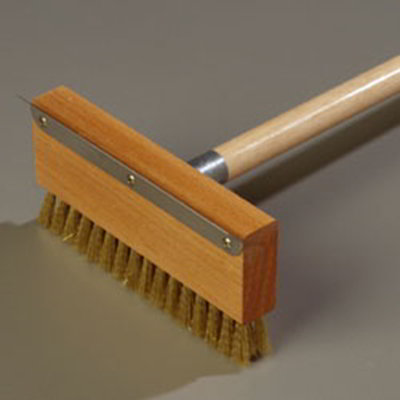 "Carlisle 4152000 42"" Oven Brush & Scraper - Crimped Brass Wire Bristles, Stainless/Wood"