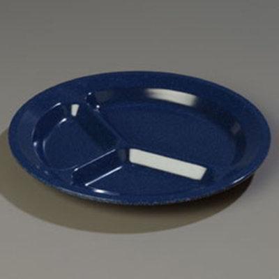 """Carlisle 4351235 11"""" Dallas Ware (3)Compartment Plate - Melamine, Cafe Blue"""