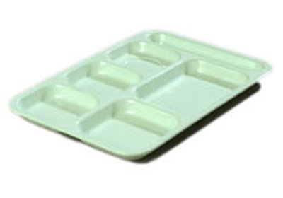 """Carlisle 4398864 (6)Compartment Tray - Right-Handed, 14-1/2x10"""" Mint Green"""