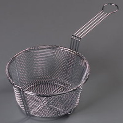 "Carlisle 601000 8-3/4"" Round Mesh Fryer Basket - Chrome-Plated Nickel"