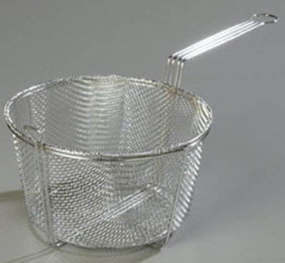"Carlisle 601003 13-1/2"" Round Mesh Fryer Basket - Chrome-Plated Nickel Steel"
