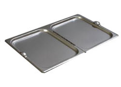 Carlisle 607000H Steam Table Pan Cover - Full Size, Solid, Center-Hinged, Stainless Steel