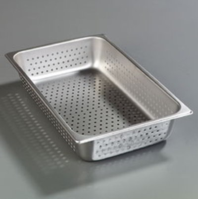 "Carlisle 607004P Full-Size Perforated Steam Table Pan - 4"" D, Stainless"