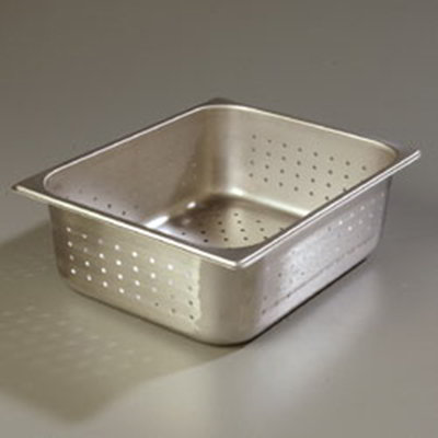 "Carlisle 607124P Half-Size Perforated Steam Table Pan - 4"" D, Stainless"