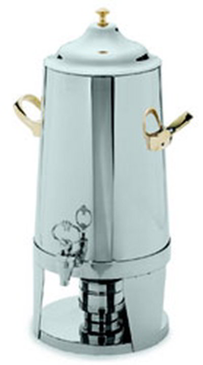 Carlisle 609635 5-Gallon Tapered Beverage Urn w/ Brass Handles & Knob, Stainless