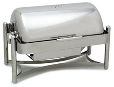 Carlisle 609686 8-qt Rectangle Mediterranean Chafer, Roll Top, Chrome & S