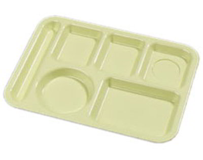 "Carlisle 61404 Rectangular (6)Compartment Tray - Left-Handed, 13-7/8x9-7/8"" Yellow"