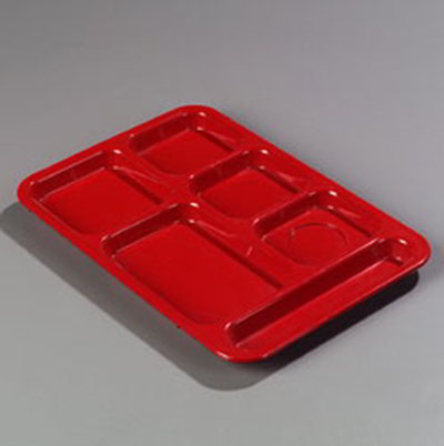 Carlisle 614R05 Rectangular (6)Compartment Tray - Right-Ha