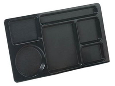 "Carlisle 61503 Rectangular (6)Compartment Tray - Left-Handed, 15x8-3/4"" Black"